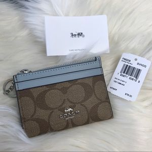 Coach Signature Mini Skinny ID Case Zip Wallet